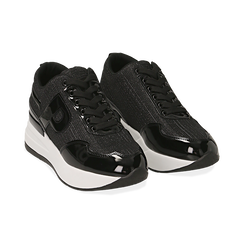 Sneakers nere glitter, suola 5,50 cm , Scarpe, 142898982GLNERO035, 002 preview