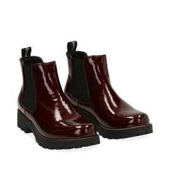 Chelsea boots bordeaux in vernice, Primadonna, 140608573VEBORD039, 002a