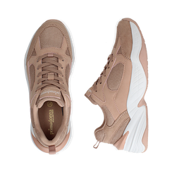 Dad shoes nude in microfibra, zeppa 4,50 cm, Sneakers, 142619462MFNUDE036, 003 preview