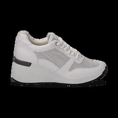 Sneakers bianche in eco-pelle con zeppa, Scarpe, 132008360EPBIAN036, 001 preview