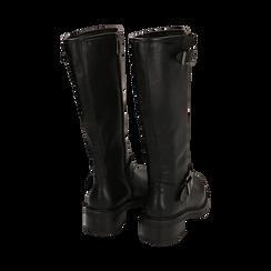 Biker boots con fibbie neri in eco-pelle, tacco 4,5 cm , Scarpe, 14A702710EPNERO035, 003 preview