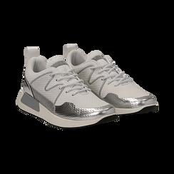 Sneakers bianche in tessuto tecnico dettagli glitter, Scarpe, 132619190TSBIAN036, 002 preview