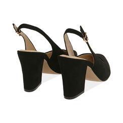 Slingback negro de microfibra, tacón 8,50 cm, Zapatos, 172183402MFNERO036, 004 preview