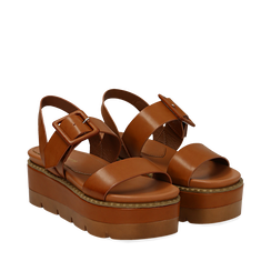 Sandali platform cuoio in eco-pelle, zeppa 7 cm , Primadonna, 132108682EPCUOI037, 002a