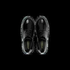Francesine stringate nere con tacco multistrato basso, Scarpe, 120608956ABNERO, 004 preview