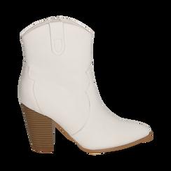 Santiags blanches en simili-cuir, talon 9 cm, Chaussures, 154930037EPBIAN035, 001 preview