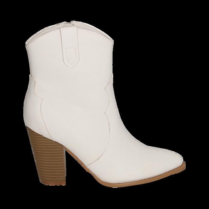 Santiags blanches en simili-cuir, talon 9 cm, Chaussures, 154930037EPBIAN035