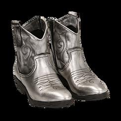 Camperos argento in laminato, Stivaletti, 148900250LMARGE036, 002a