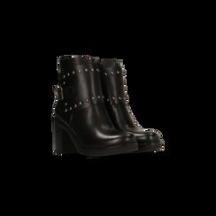 Tronchetti neri con dettagli metal, tacco 6 cm, Scarpe, 129315813EPNERO, 002 preview