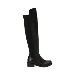 Overknee neri in eco-pelle, tacco 4 cm , Stivali, 143025001EPNERO036, 001 preview