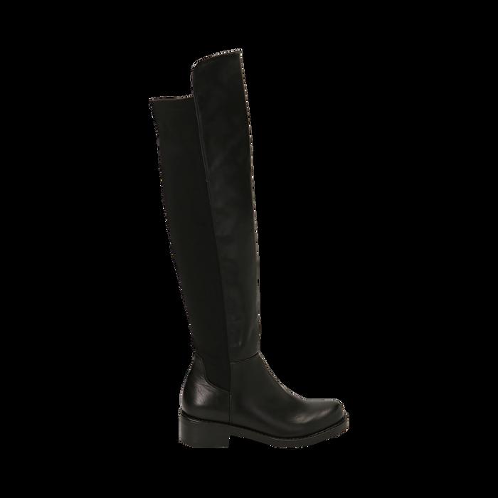 Overknee neri in eco-pelle, tacco 4 cm , Stivali, 143025001EPNERO036