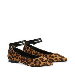Ballerine a punta leopard in microfibra con cinturino alla caviglia, Scarpe, 144814118MFLEOP035, 002a