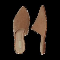 Mules flat nude in microfibra con punta affusolata, Scarpe, 134921861MFNUDE036, 003 preview