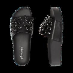 Zeppe nere in eco-pelle con gemme, zeppa 4 cm, Primadonna, 115160026EPNERO041, 003 preview