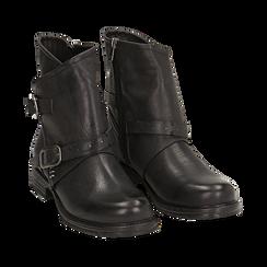 Biker boots neri con fibbie in eco-pelle, Stivaletti, 140721051EPNERO, 002 preview