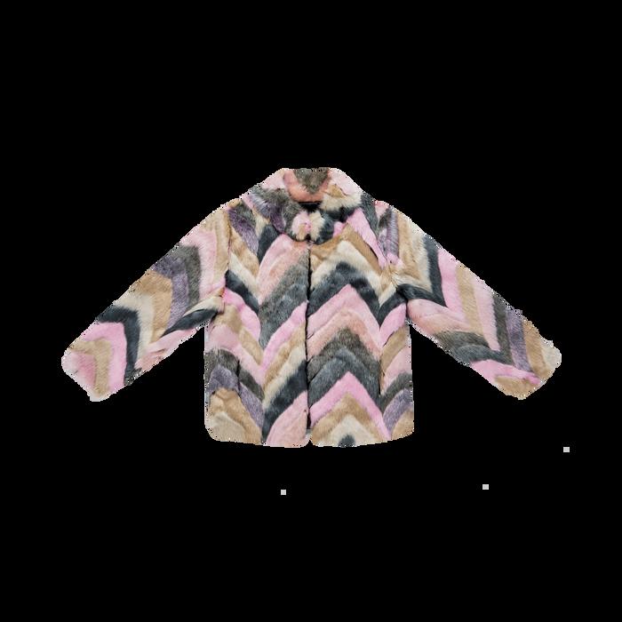 Pelliccia multicolore corta eco-fur, manica lunga, Saldi, 12B432301FUROSA