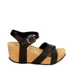 Sandalia plataforma negra, cuña 7 cm, Rebajas, 177801101EPNERO035, 001a