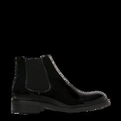 Chelsea Boots neri vernice con tacco basso, 120618208VENERO039, 001a