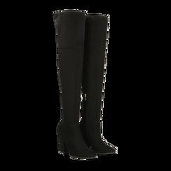 Stivali sopra il ginocchio scamosciati neri, tacco 9,5 cm, Scarpe, 122186681MFNERO, 002 preview