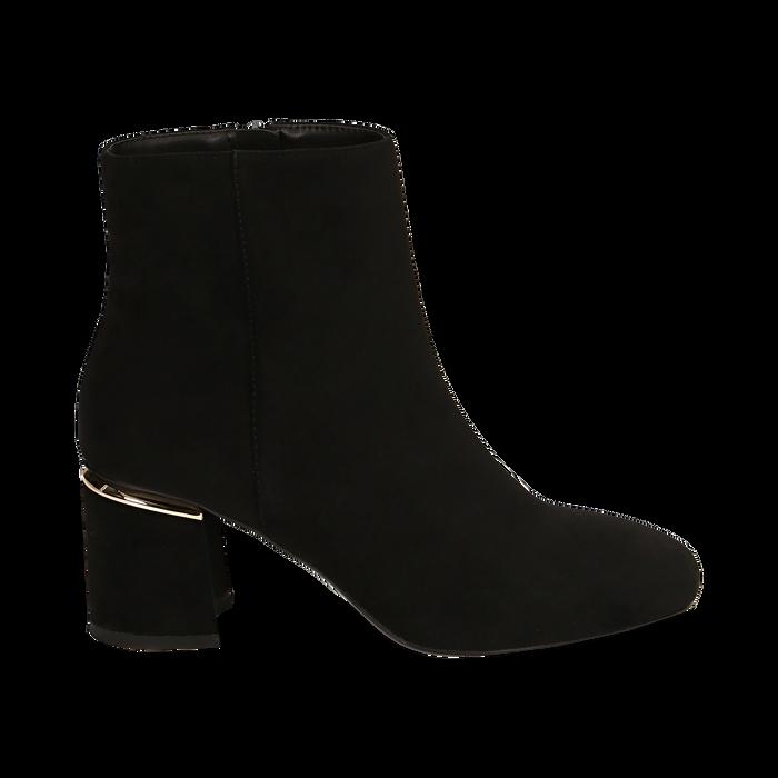 Ankle boots neri in microfibra, tacco 6,50 cm , Promozioni, 164981031MFNERO036