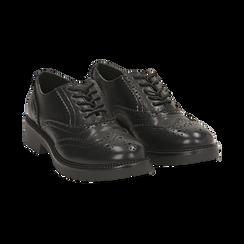 Stringate nere in eco-pelle con lavorazione Duilio, Scarpe, 140585751EPNERO035, 002 preview