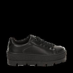 Sneakers platform nere in eco-pelle, zeppa 5 cm, Scarpe, 142618776EPNERO036, 001a