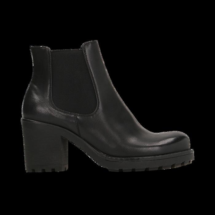 Chelsea Boots neri, tacco medio 7 cm, Scarpe, 120800819EPNERO