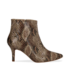 Ankle boots beige in eco-pelle effetto snake skin, tacco 8 cm, Scarpe, 13A407520PTBEIG035, 001a