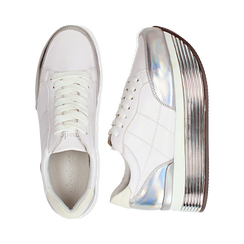 Sneakers bianche in eco-pelle con platform argento, Scarpe, 130751703EPBIAR036, 003 preview
