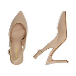 Slingback beige de piel, tacón 9 cm, Zapatos, 15D601002VIBEIG037, 003 preview