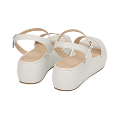Sandali bianchi in eco-pelle, zeppa 5 cm , Chaussures, 159790131EPBIAN037, 004 preview