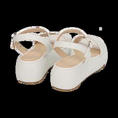 Sandali bianchi in eco-pelle, zeppa 5 cm , Zapatos, 159790131EPBIAN037, 004 preview