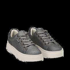 Sneakers argento glitter, suola 4 cm , Scarpe, 142509512GLARGE036, 002a