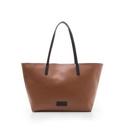 Maxi-bag cuoio in eco-pelle con manici neri, Borse, 133783134EPCUOIUNI, 001a