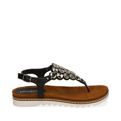 Sandali infradito neri in eco-pelle , Chaussures, 154927051EPNERO035, 001a
