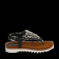 Sandali infradito neri in eco-pelle , 154927051EPNERO035, 001a