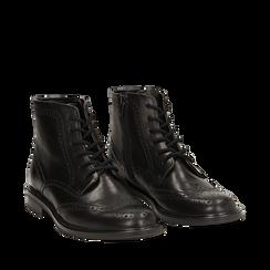 Polacchino nero in pelle con lavorazione Duilio, Scarpe, 147729509PENERO036, 002a