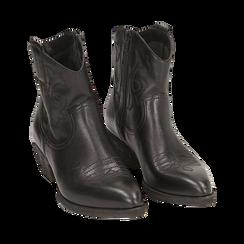 Camperas en piel color negro, tacón 4 cm, Primadonna, 157732901PENERO035, 002a