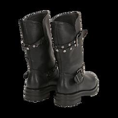 Biker boots con fibbie e borchie neri in eco-pelle, tacco 4 cm , Stivaletti, 14A719671EPNERO036, 003 preview