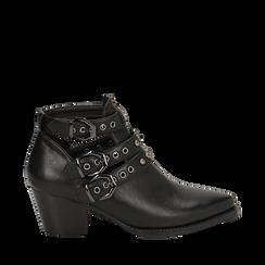 Camperos neri in eco-pelle con borchie, tacco 6 cm , Stivaletti, 143021907EPNERO036, 001a