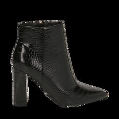 Ankle boots neri stampa cocco, tacco 9,5 cm , Stivaletti, 142186672CCNERO035, 001a