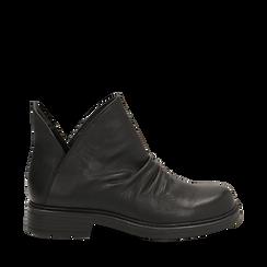 Biker boots flat neri in eco-pelle, Stivaletti, 140701515EPNERO036, 001a
