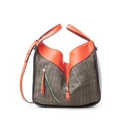 Borsa grande arancio in eco-pelle con dettagli in tweed , Borse, 142400200EPARANUNI, 001a