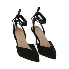 Escarpins à lacets en lycra noir, talon de 9 cm, Primadonna, 172106281LYNERO036, 002 preview