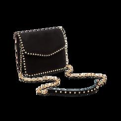 Pochette con tracolla nera in microfibra scamosciata, profili mini-borchie, Saldi Borse, 123308852MFNEROUNI, 003 preview