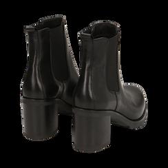 Chelsea boots neri in pelle, tacco 7,50 cm , Promozioni, 167734401PENERO035, 004 preview