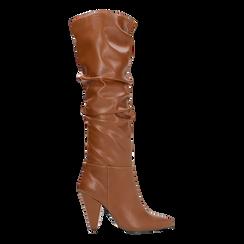 Stivali cuoio gambale drappeggiato, tacco a cono 10 cm, Scarpe, 124911206EPCUOI, 001 preview