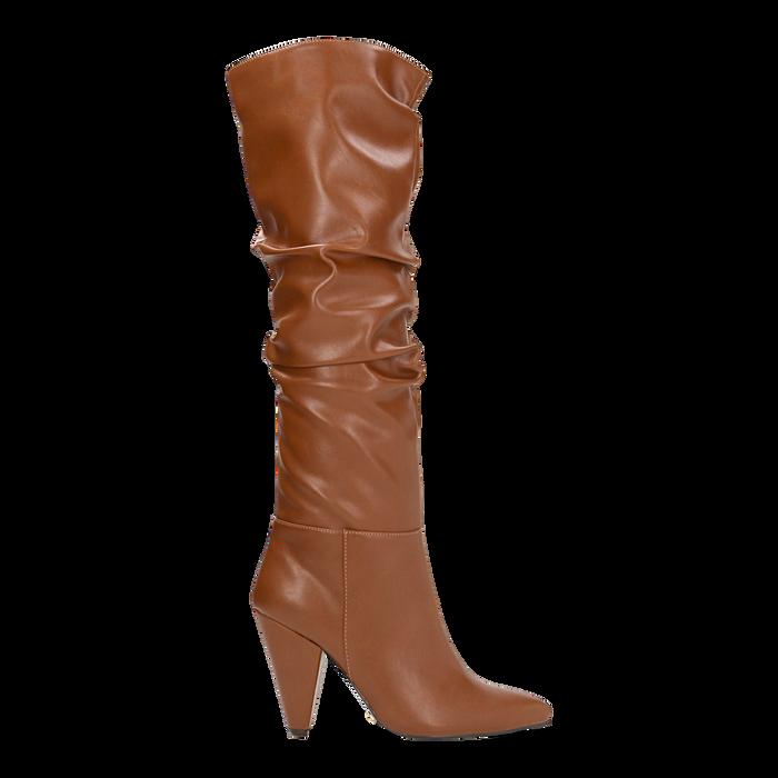 Stivali cuoio gambale drappeggiato, tacco a cono 10 cm, Scarpe, 124911206EPCUOI