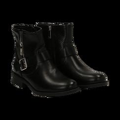 Biker boots neri in eco-pelle con gambale traforato estensibile, tacco 3 cm, Scarpe, 130619015EPNERO, 002 preview