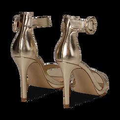 Sandali oro in laminato, tacco stiletto 10 cm , Primadonna, 132127405LMOROG035, 004 preview
